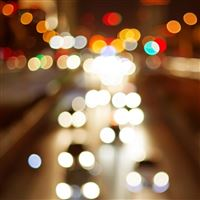 Bokeh Lights Cars City Night iPad wallpaper