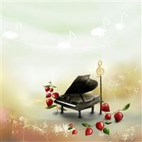 Aesthetic Cartoon Piano Scene iPad wallpaper