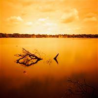 Orange Peaceful Pond Landscape iPad wallpaper