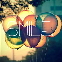 Smile Text Written On Retro Colored Ballons iPad wallpaper