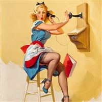 Telephone PinUp Girl Painting Art iPad wallpaper