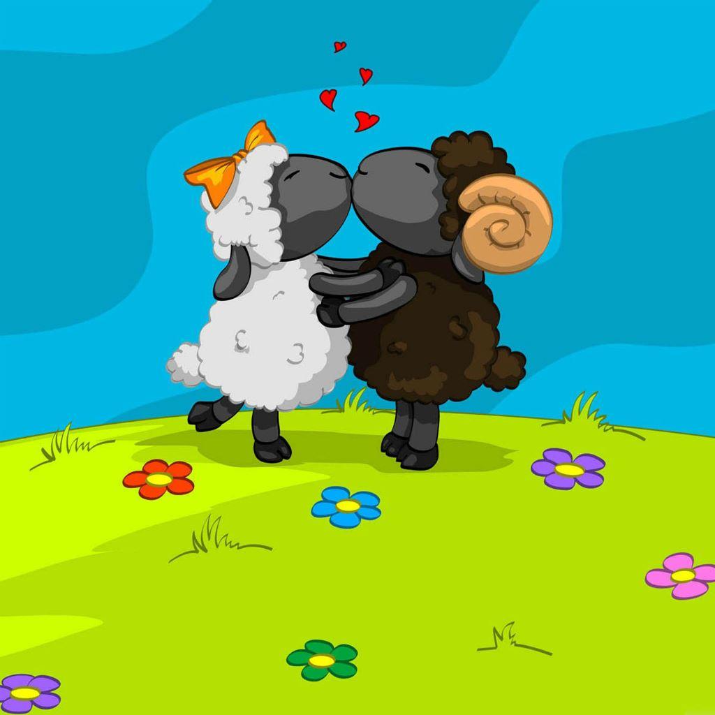 Sheep Fall In Love IPad Wallpaper