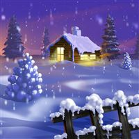 Classic Home Winter Scene Painting iPad wallpaper