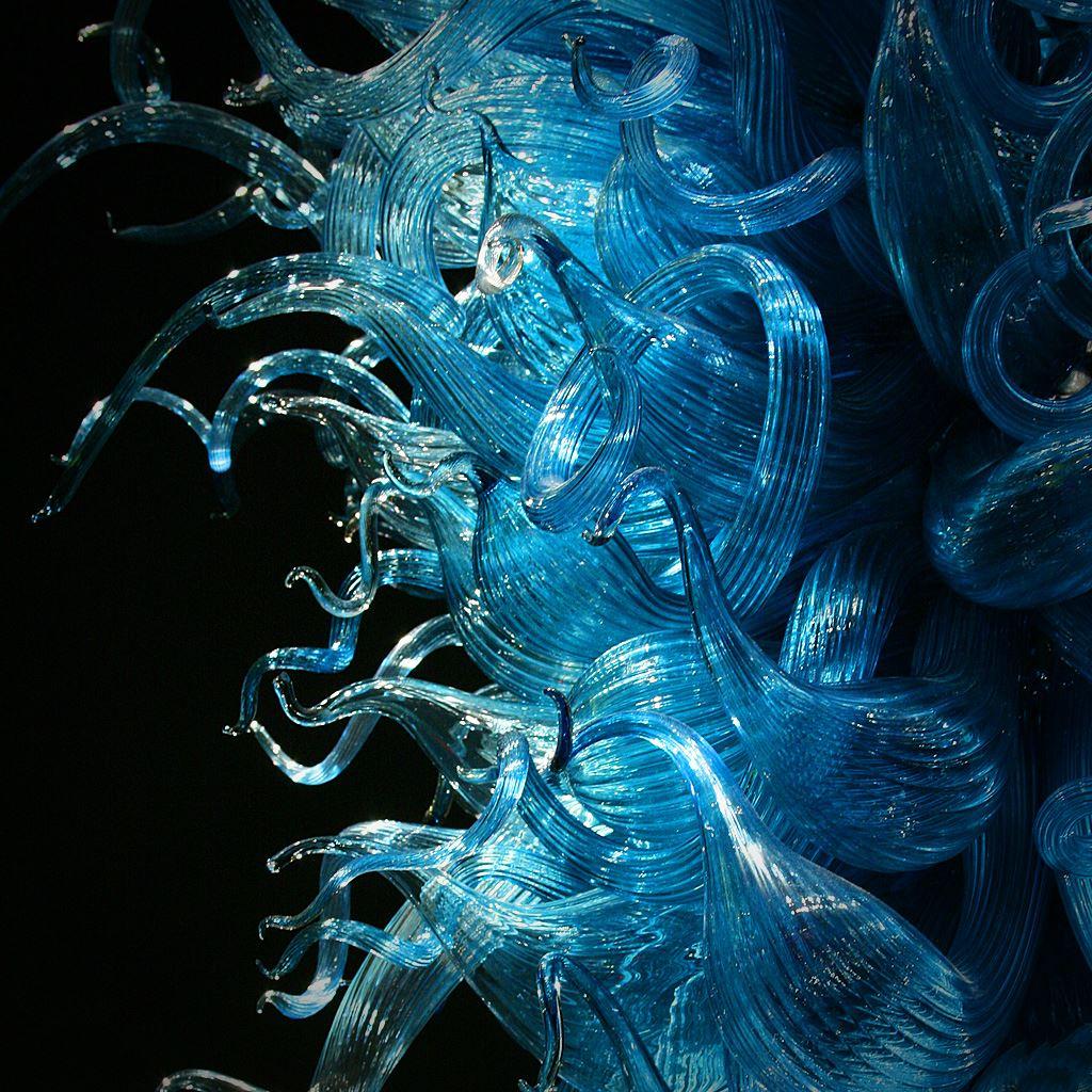 Abstract Dark Blue Glass Polygon Shape Art IPad Wallpaper
