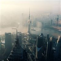 Shanghai Cityscape Overview iPad wallpaper