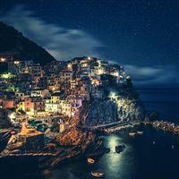 Wonderful Cliff City Night Dark Ocean View iPad wallpaper
