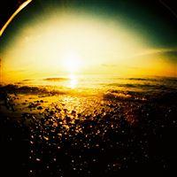 Brilliant Sunset Sea Horizon Sandy Beach iPad wallpaper
