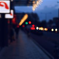 Bokeh Street Lights City Art Blue iPad wallpaper