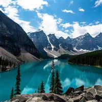 Lake Louise Mountain Lake Fantastic Nature iPad wallpaper