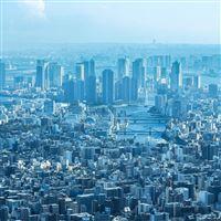 Blue City Cloud Metropolitan Urban Building iPad wallpaper