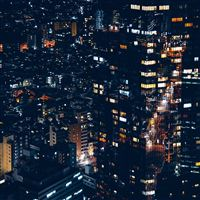 City Night Lights Building Pattern iPad wallpaper
