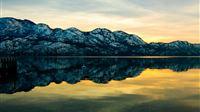Mountain Lake Reflection Scenery iPad wallpaper