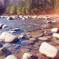 Summer Rocks River Lake Nature Mountain Flare iPad wallpaper