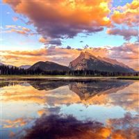 Mountain Lake Sunset Nature Summer iPad wallpaper