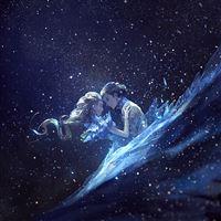Anime Kiss Love Blue Girl Boy Illustration Art iPad wallpaper