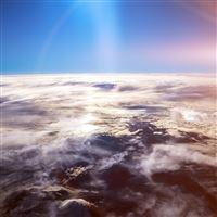 Sky Earth Blue Fly Cloud Sunny Flare iPad wallpaper