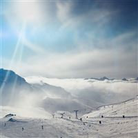 Snow Ski Winter Play Mountain Sunny Bokeh Flare Blue iPad wallpaper