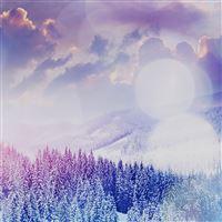 Winter Mountain Snow White Blue Flare Nature iPad wallpaper