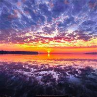 Sea Sunset Red Beach Nature iPad wallpaper