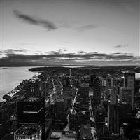 Night Sky Fly Sanfrancisco USA Sea Bw Dark iPad wallpaper