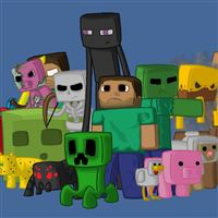 Minecraft Characters Game Pixels Java iPad wallpaper