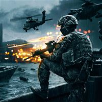 Battlefield 4 Game Sea Digital Illustration iPad wallpaper