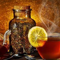 Tea Kettle Steam Cup Lemon Tea Leaves Jar Spoon iPad wallpaper