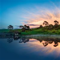Hill Lake Sunset Trees iPad wallpaper