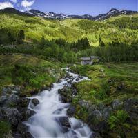 Odd Norway Hardangervidda Huts Mountains iPad wallpaper