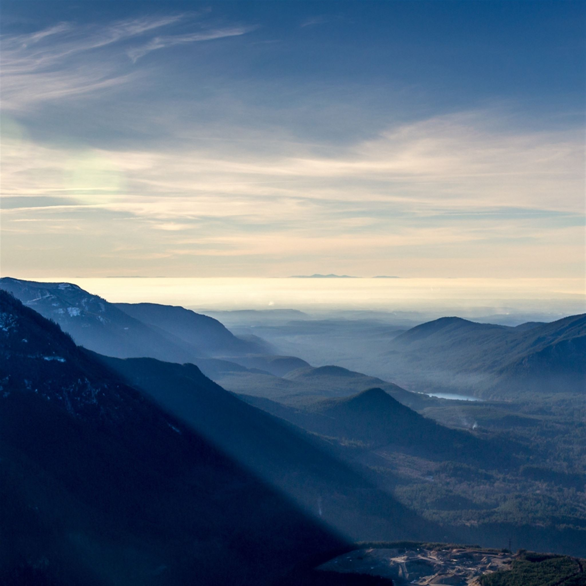 Mountains Sky Mist Sunny Scenery iPad wallpaper