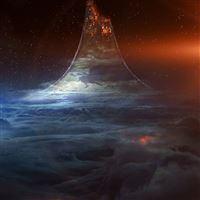 To Heaven Or Hell Dark Blue Illustration Art Flare iPad wallpaper