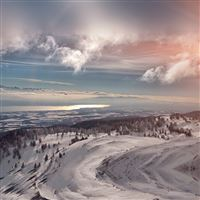 Snow Mountain Winter Cold View Flare iPad wallpaper