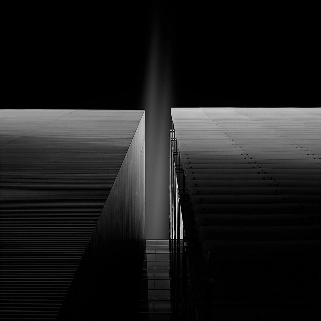 Dark Bw Black Building Illustration Art iPad wallpaper