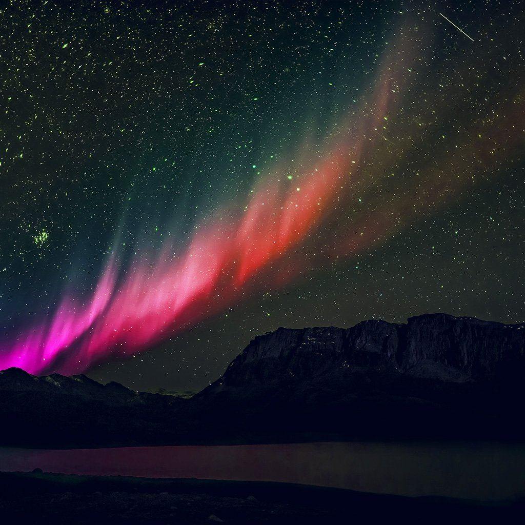 Aurora Night Sky Mountain Space Nature Rainbow Love iPad wallpaper