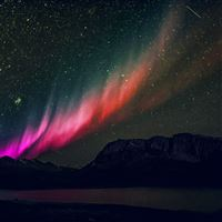Aurora Night Sky Mountain Space Nature Rainbow Love iPad wallpaper