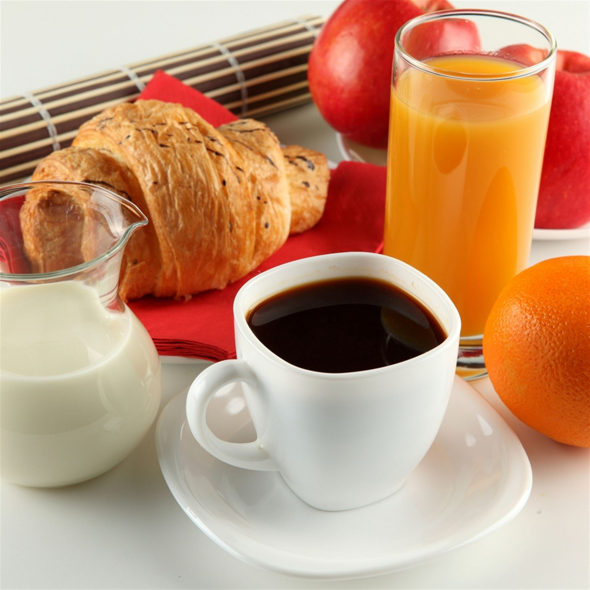 Breakfast Coffee Milk Orange Juice Croissant Apple Cup White Saucer Jug iPad wallpaper