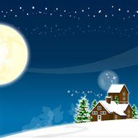 Christmas tree new year house moon snow iPad wallpaper