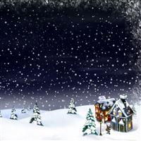 Christmas snow moon house fur-trees iPad wallpaper