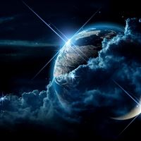 Planet clouds light star iPad wallpaper