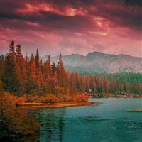 Lakes and mountains iPad wallpaper