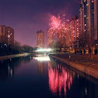 Bright fireworks iPad wallpaper