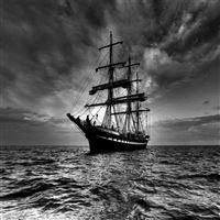 Ship sea sail storm iPad wallpaper