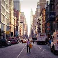 New York street cars buildings iPad wallpaper