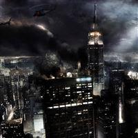 Night city fires light iPad wallpaper