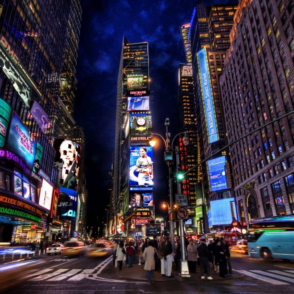 New York times square street night home iPad wallpaper