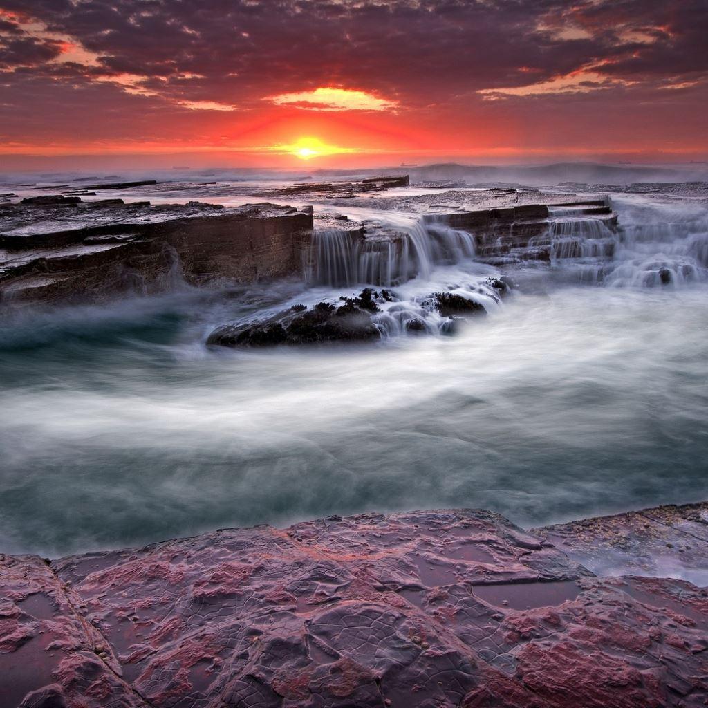 Water rocks streams coast blocks iPad wallpaper