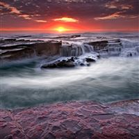 Water rocks streams coast blocks iPad wallpaper