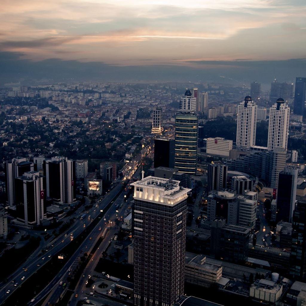 City night top view skyscrapers metropolis iPad wallpaper