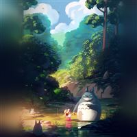 Totoro anime illustration art iPad wallpaper