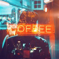 Coffee neon sign night illustration art iPad wallpaper